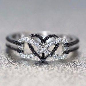 NEW•Women's infinity/heart white sapphire SS925 rg